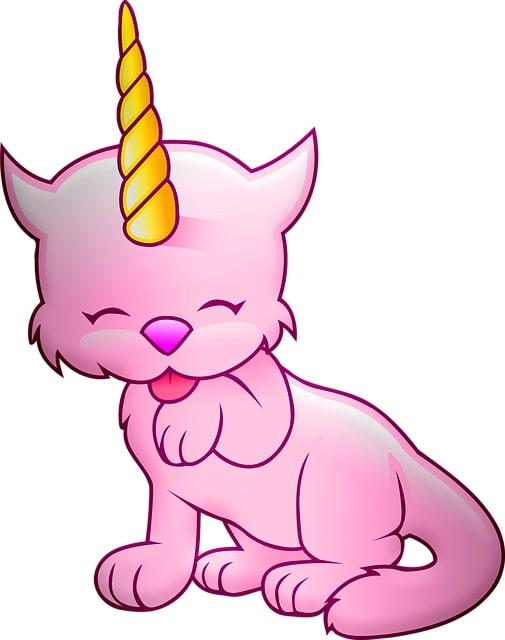 gato unicornio rosa