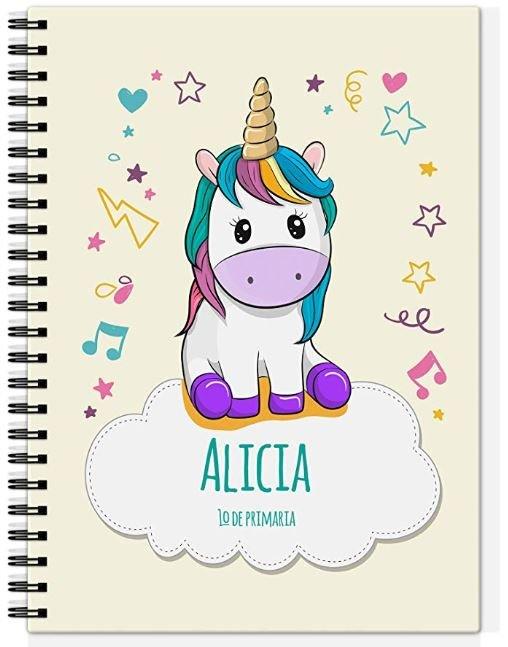 libreta forrada de unicornio